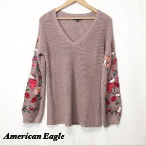 American Eagle - Mauve Embroidered Sweater SM